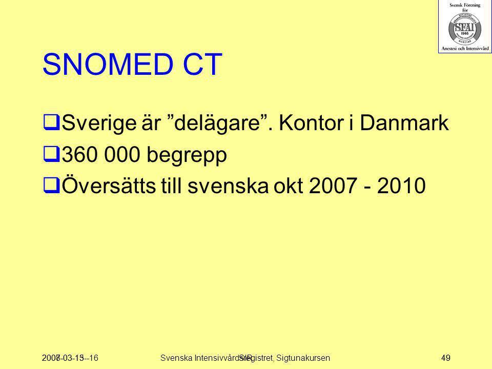 """2007-03-15--16SIR49 SNOMED CT  Sverige är """"delägare"""". Kontor i Danmark  360 000 begrepp  Översätts till svenska okt 2007 - 2010 2008-03-1349Svenska"""