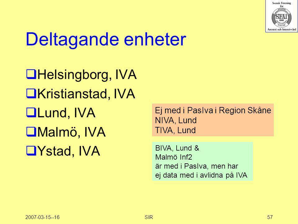 2007-03-15--16SIR57 Deltagande enheter  Helsingborg, IVA  Kristianstad, IVA  Lund, IVA  Malmö, IVA  Ystad, IVA Ej med i PasIva i Region Skåne NIV