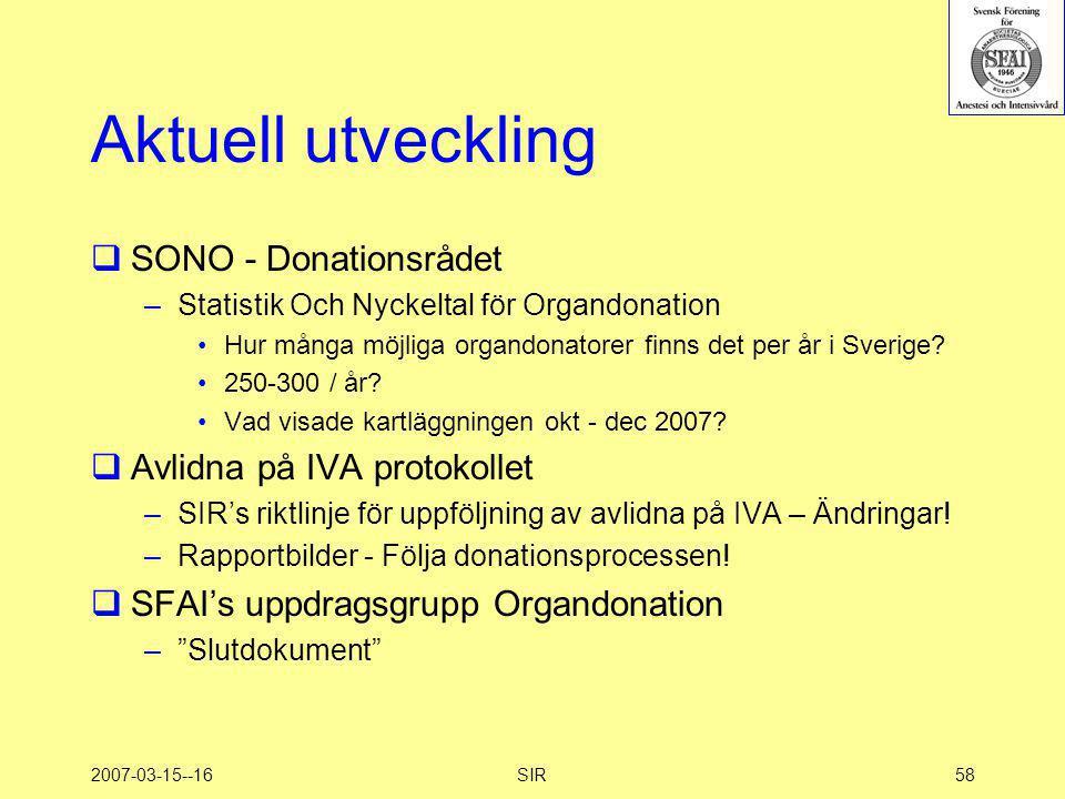 2007-03-15--16SIR58 Aktuell utveckling  SONO - Donationsrådet –Statistik Och Nyckeltal för Organdonation •Hur många möjliga organdonatorer finns det