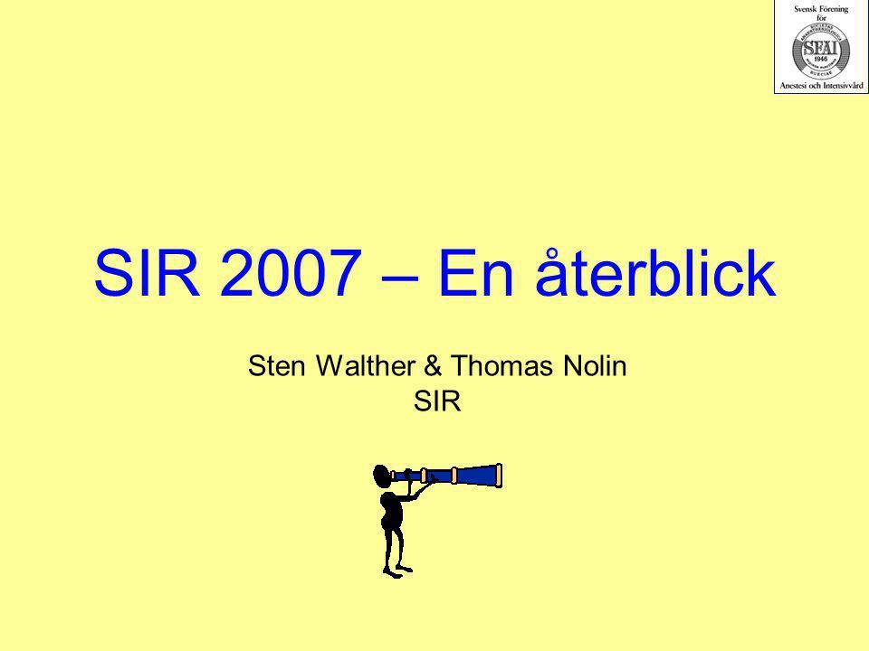 SIR 2007 – En återblick Sten Walther & Thomas Nolin SIR