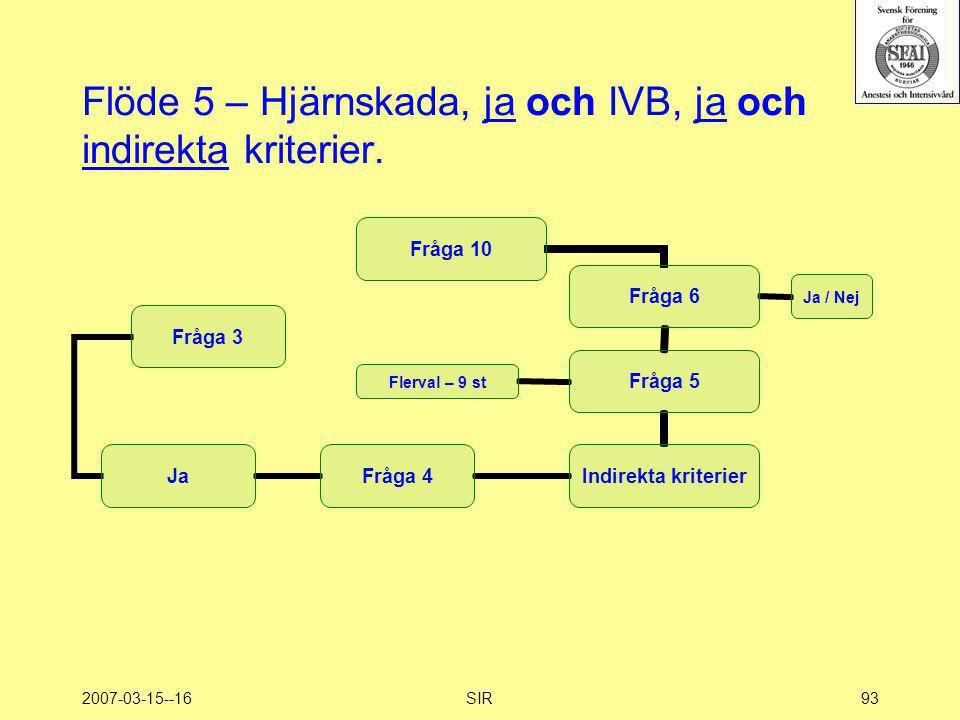 2007-03-15--16SIR93 Flöde 5 – Hjärnskada, ja och IVB, ja och indirekta kriterier.
