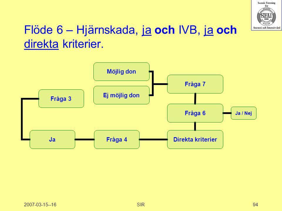 2007-03-15--16SIR94 Flöde 6 – Hjärnskada, ja och IVB, ja och direkta kriterier.