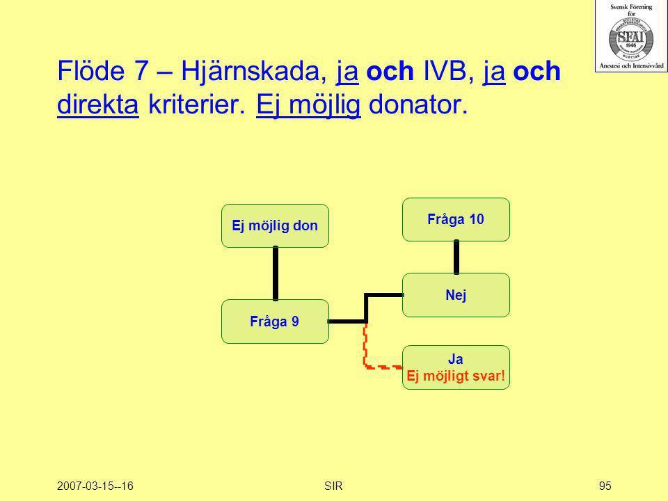 2007-03-15--16SIR95 Flöde 7 – Hjärnskada, ja och IVB, ja och direkta kriterier. Ej möjlig donator.