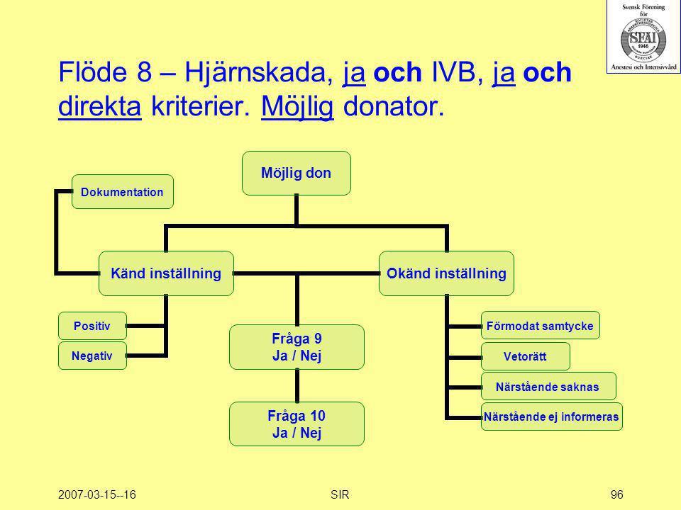 2007-03-15--16SIR96 Flöde 8 – Hjärnskada, ja och IVB, ja och direkta kriterier. Möjlig donator.