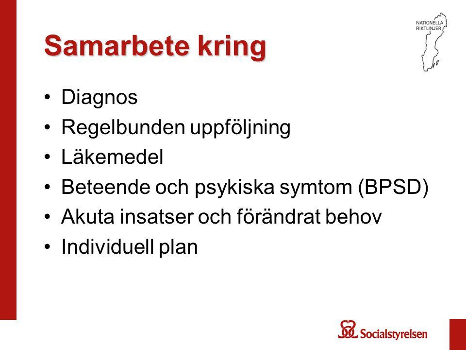 Samarbete kring •Diagnos •Regelbunden uppföljning •Läkemedel •Beteende och psykiska symtom (BPSD) •Akuta insatser och förändrat behov •Individuell plan