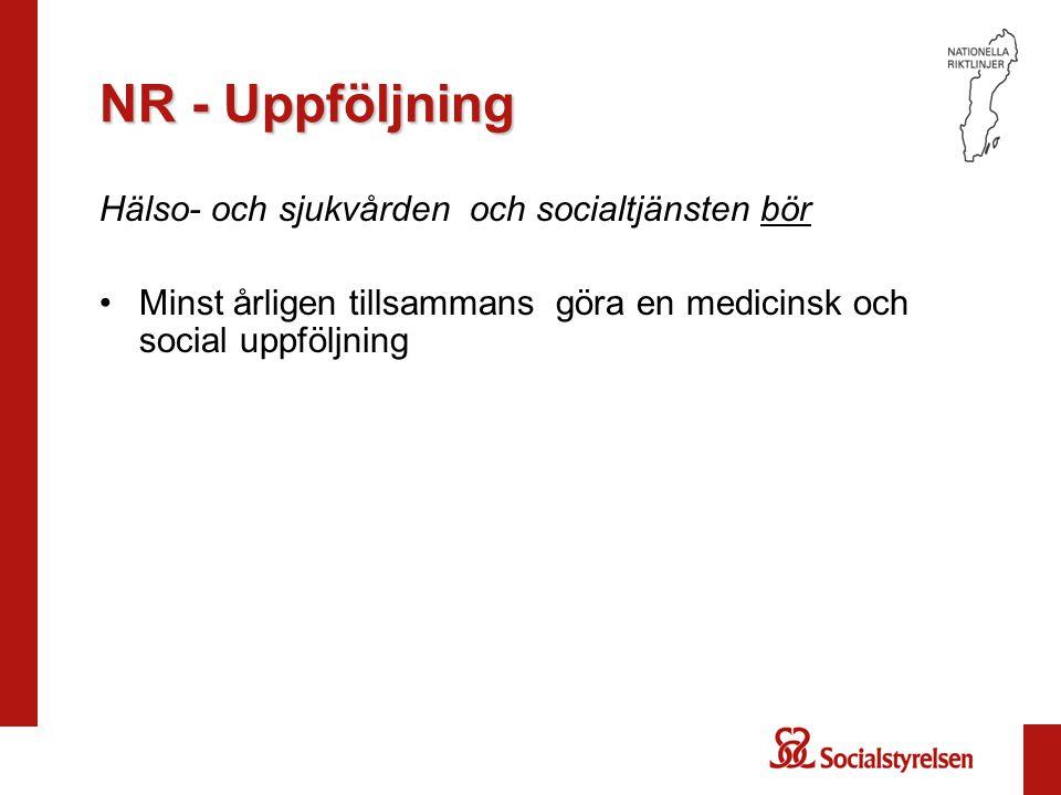 NR - Uppföljning Hälso- och sjukvården och socialtjänsten bör •Minst årligen tillsammans göra en medicinsk och social uppföljning