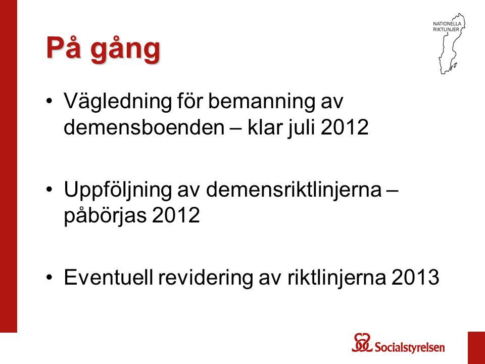 På gång På gång •Vägledning för bemanning av demensboenden – klar juli 2012 •Uppföljning av demensriktlinjerna – påbörjas 2012 •Eventuell revidering av riktlinjerna 2013