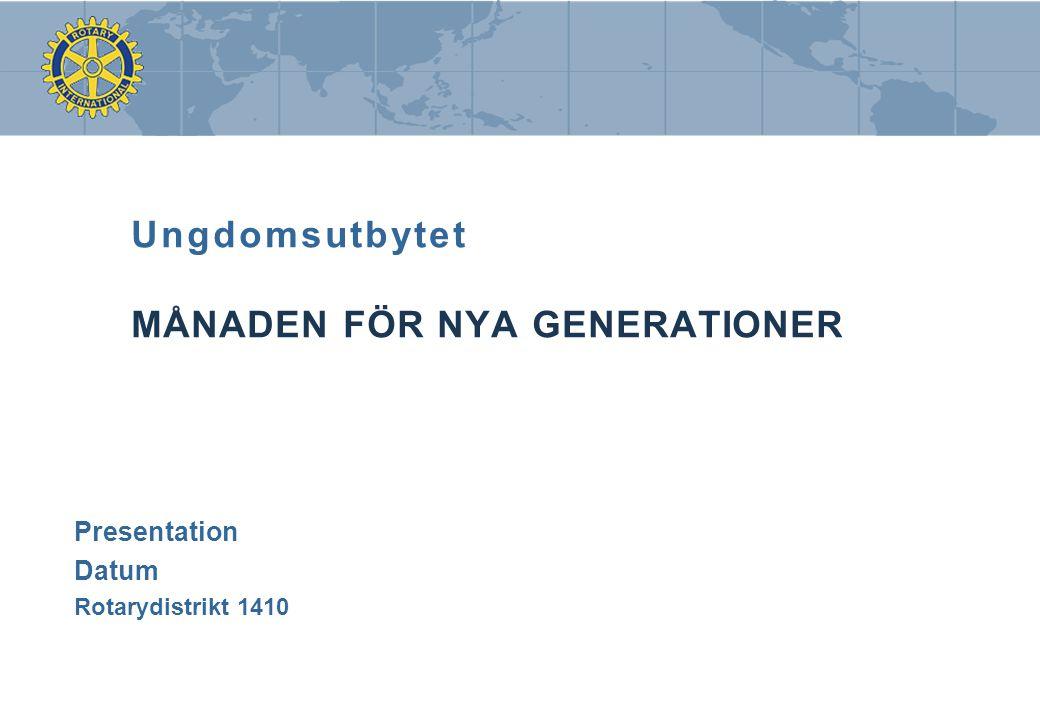 Ungdomsutbytet MÅNADEN FÖR NYA GENERATIONER Presentation Datum Rotarydistrikt 1410
