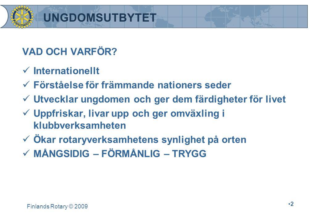 Finlands Rotary © 2009 •2•2 UNGDOMSUTBYTET VAD OCH VARFÖR.