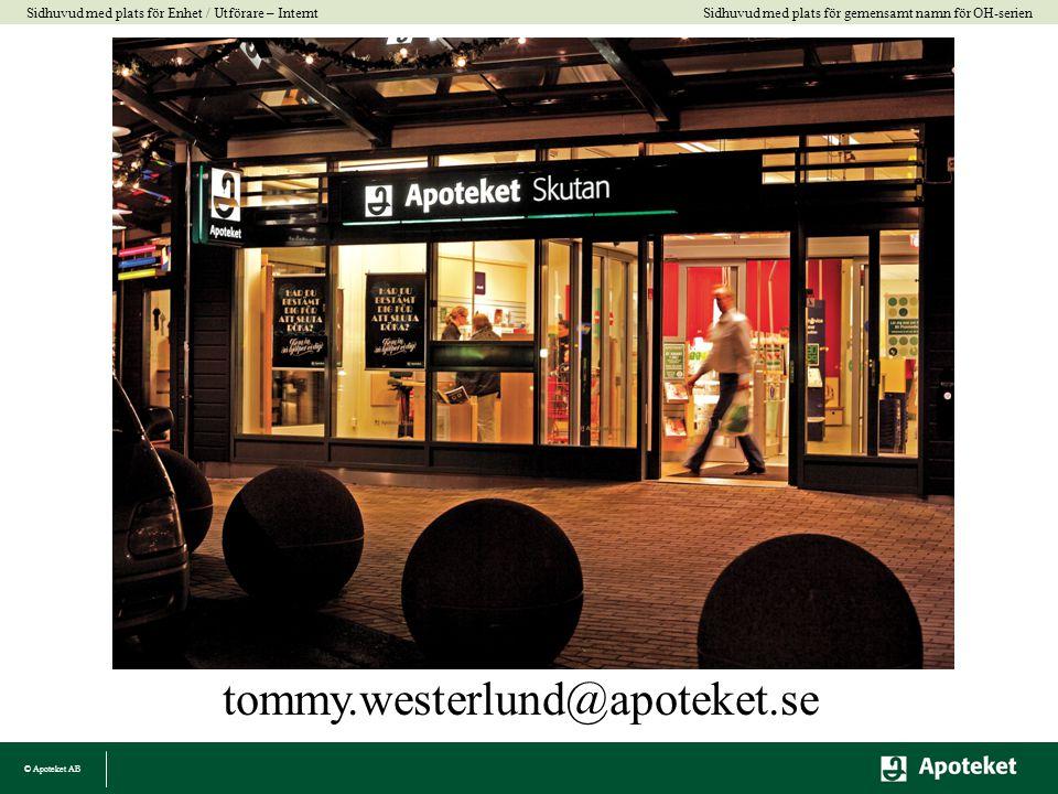 © Apoteket AB Sidhuvud med plats för gemensamt namn för OH-serien Sidhuvud med plats för Enhet / Utförare – Internt tommy.westerlund@apoteket.se