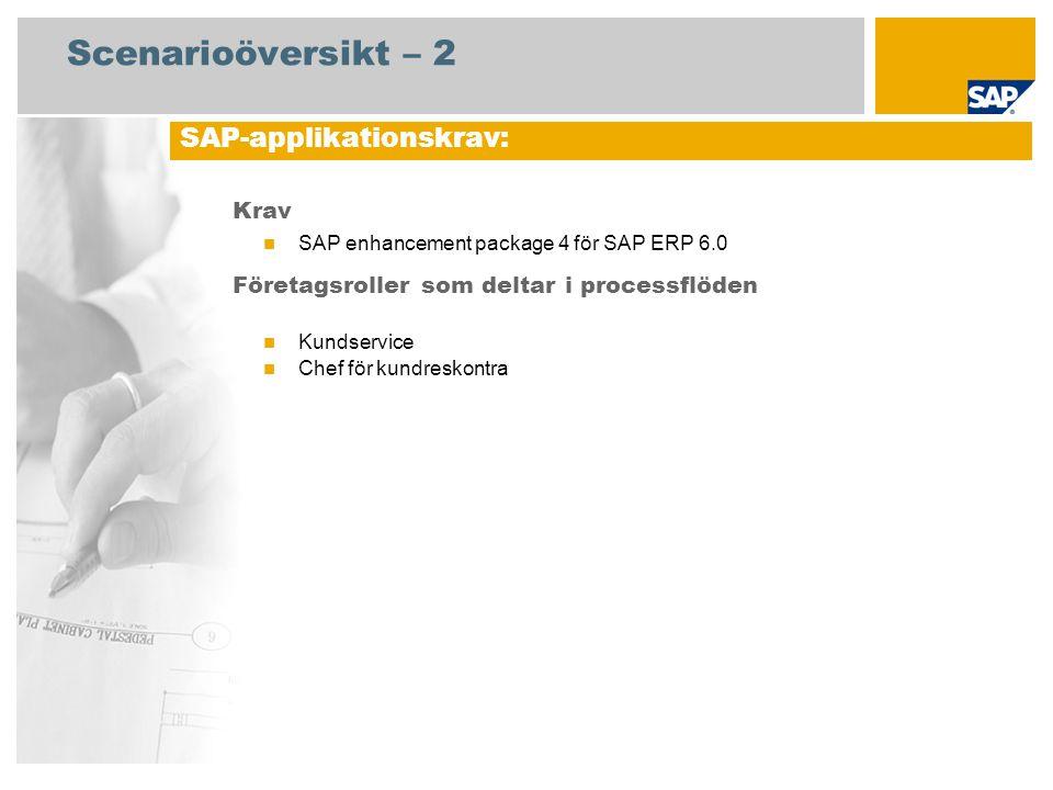 Scenarioöversikt – 2 Krav  SAP enhancement package 4 för SAP ERP 6.0 Företagsroller som deltar i processflöden  Kundservice  Chef för kundreskontra