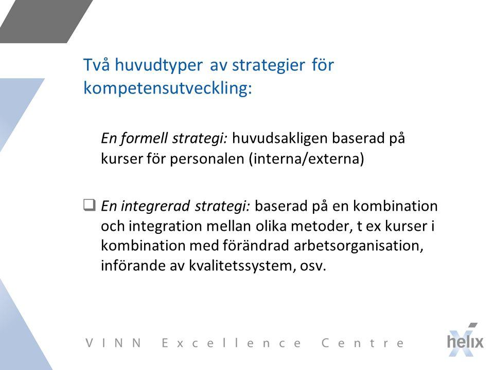 Två huvudtyper av strategier för kompetensutveckling: En formell strategi: huvudsakligen baserad på kurser för personalen (interna/externa)  En integrerad strategi: baserad på en kombination och integration mellan olika metoder, t ex kurser i kombination med förändrad arbetsorganisation, införande av kvalitetssystem, osv.