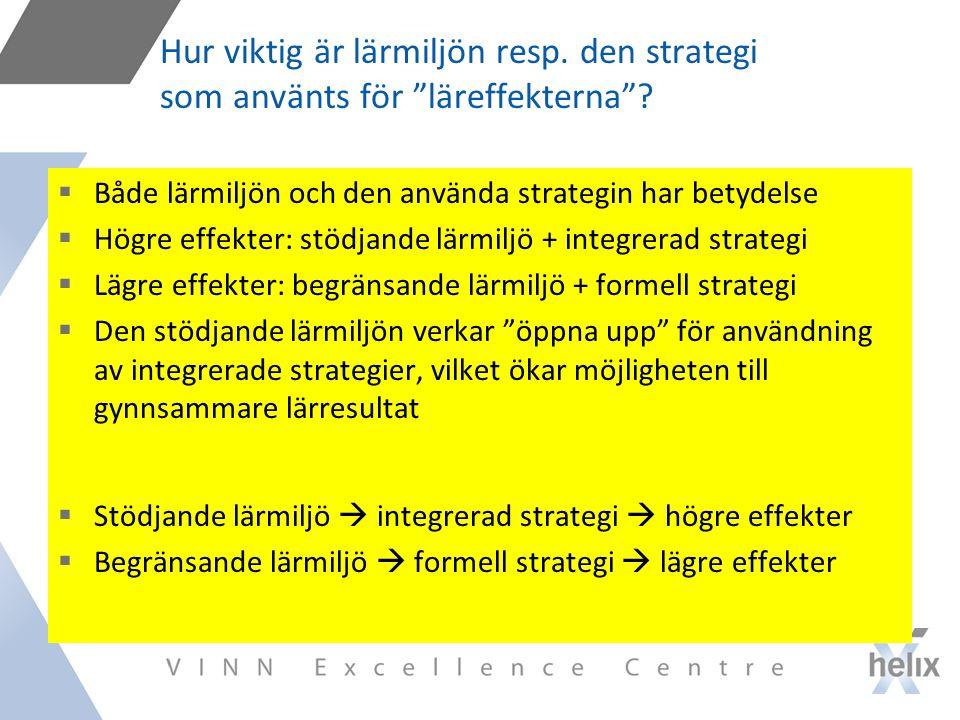 Hur viktig är lärmiljön resp.den strategi som använts för läreffekterna .