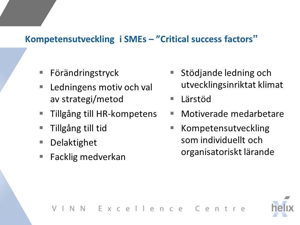 Kompetensutveckling i SMEs – Critical success factors  Förändringstryck  Ledningens motiv och val av strategi/metod  Tillgång till HR-kompetens  Tillgång till tid  Delaktighet  Facklig medverkan  Stödjande ledning och utvecklingsinriktat klimat  Lärstöd  Motiverade medarbetare  Kompetensutveckling som individuellt och organisatoriskt lärande