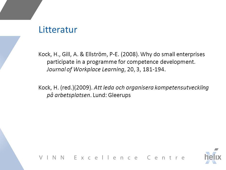 Litteratur Kock, H., Gill, A.& Ellström, P-E. (2008).