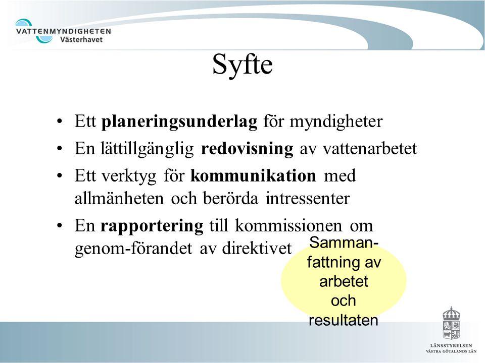 Syfte •Ett planeringsunderlag för myndigheter •En lättillgänglig redovisning av vattenarbetet •Ett verktyg för kommunikation med allmänheten och berörda intressenter •En rapportering till kommissionen om genom-förandet av direktivet Samman- fattning av arbetet och resultaten
