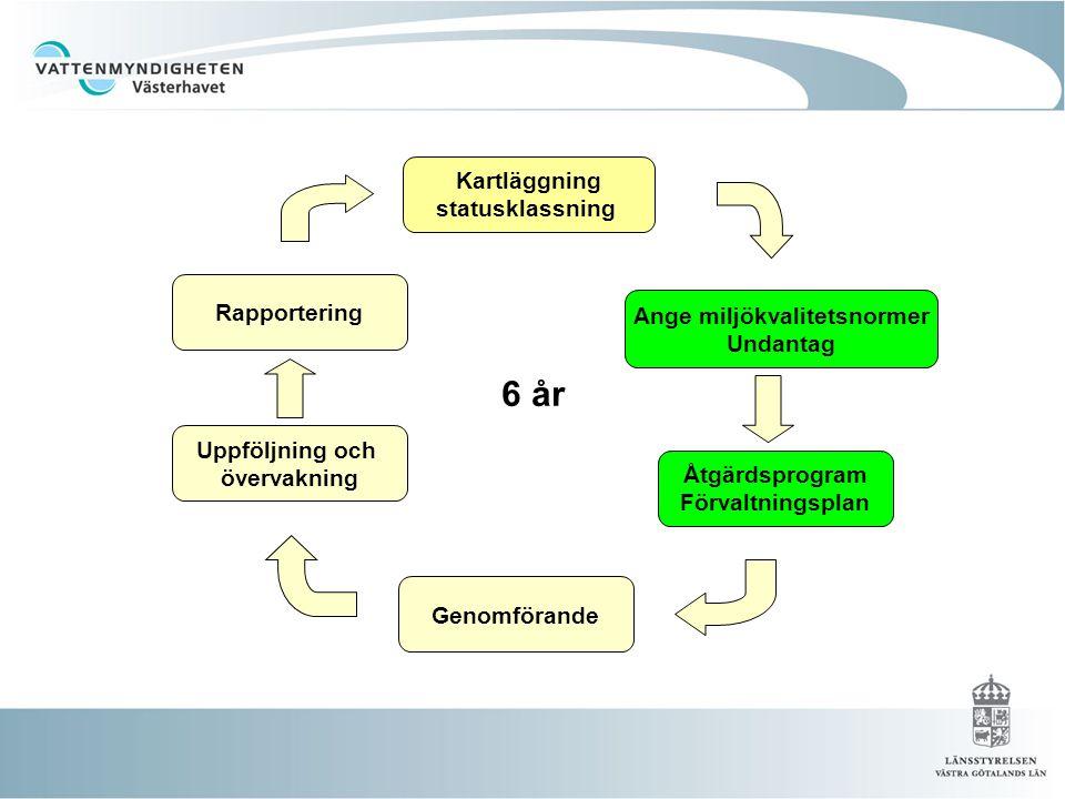 Kartläggning statusklassning Ange miljökvalitetsnormer Undantag Åtgärdsprogram Förvaltningsplan Genomförande Uppföljning och övervakning Rapportering 6 år