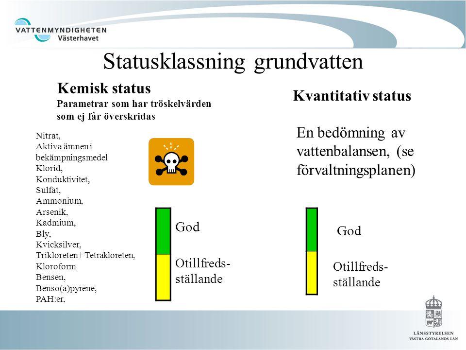 Statusklassning grundvatten Kemisk status Parametrar som har tröskelvärden som ej får överskridas Nitrat, Aktiva ämnen i bekämpningsmedel Klorid, Konduktivitet, Sulfat, Ammonium, Arsenik, Kadmium, Bly, Kvicksilver, Trikloreten+ Tetrakloreten, Kloroform Bensen, Benso(a)pyrene, PAH:er, God Otillfreds- ställande Kvantitativ status Otillfreds- ställande God En bedömning av vattenbalansen, (se förvaltningsplanen)