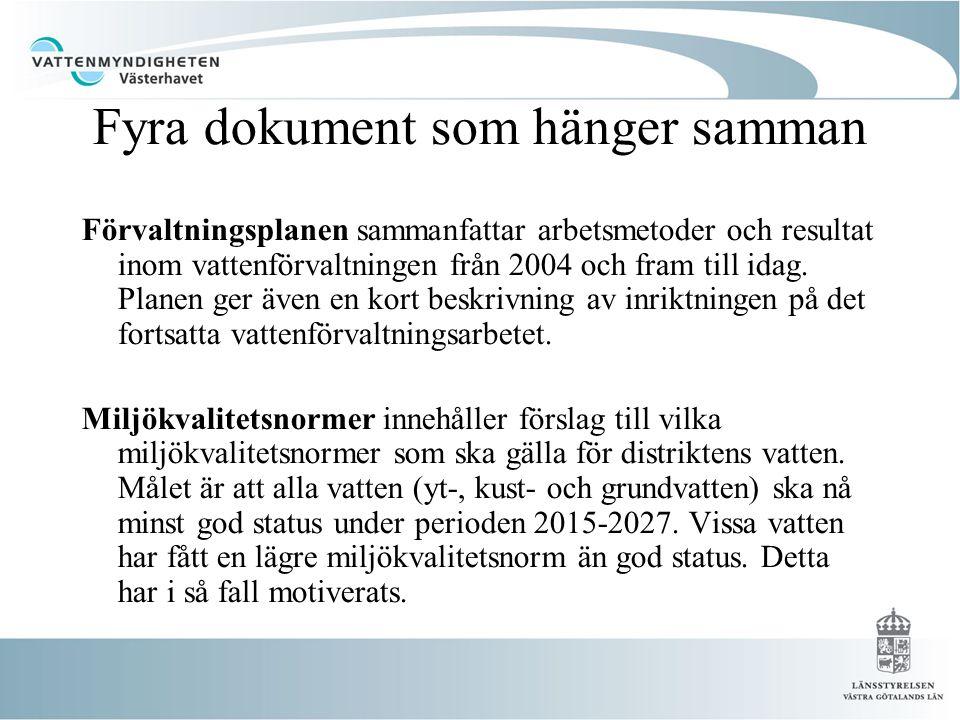 Fyra dokument som hänger samman Förvaltningsplanen sammanfattar arbetsmetoder och resultat inom vattenförvaltningen från 2004 och fram till idag.