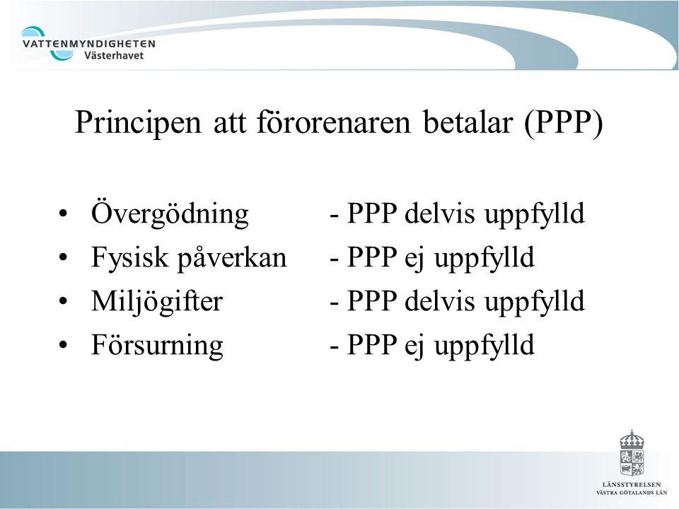 Principen att förorenaren betalar (PPP) • Övergödning - PPP delvis uppfylld • Fysisk påverkan- PPP ej uppfylld • Miljögifter - PPP delvis uppfylld • Försurning - PPP ej uppfylld