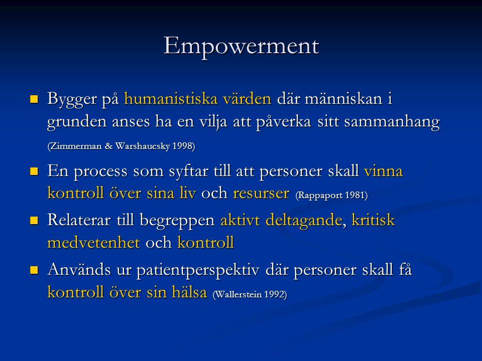 Empowerment  Bygger på humanistiska värden där människan i grunden anses ha en vilja att påverka sitt sammanhang (Zimmerman & Warshaucsky 1998)  En