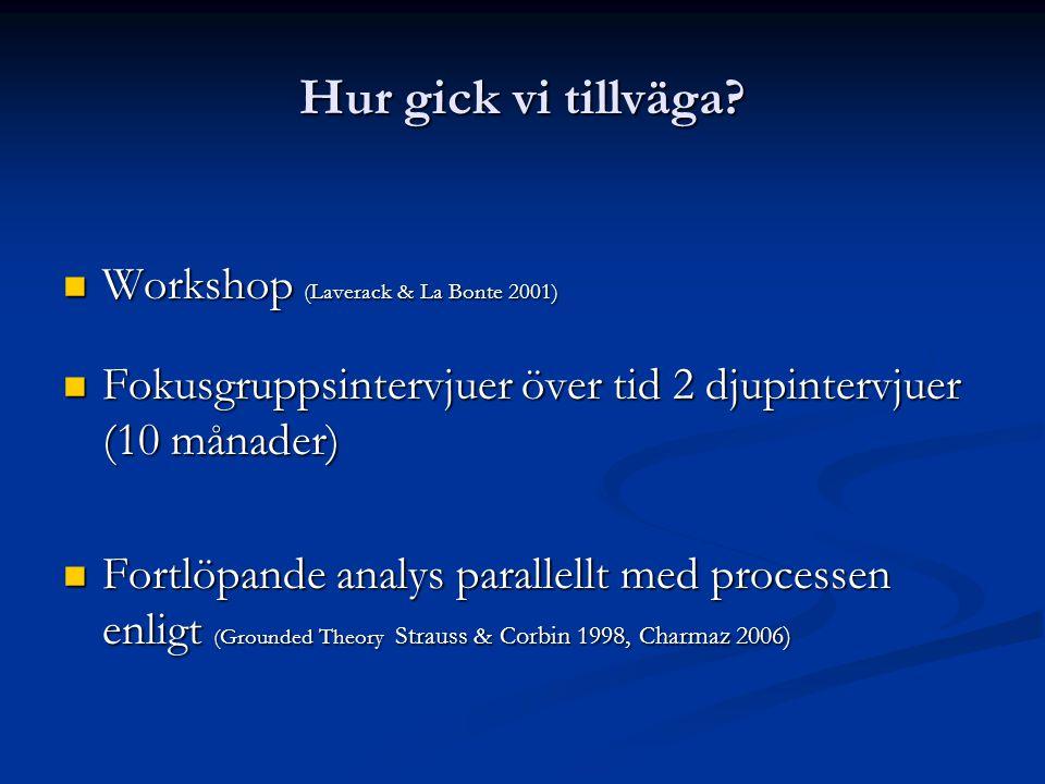 Hur gick vi tillväga?  Workshop (Laverack & La Bonte 2001)  Fokusgruppsintervjuer över tid 2 djupintervjuer (10 månader)  Fortlöpande analys parall