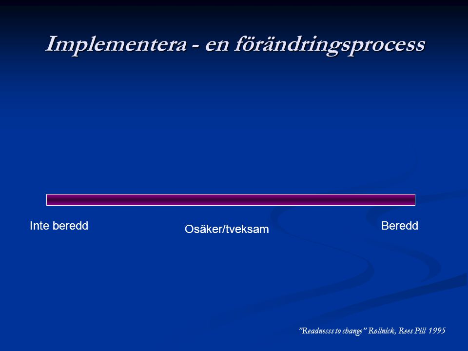 """Implementera - en förändringsprocess Inte beredd Osäker/tveksam Beredd """"Readnesss to change"""" Rollnick, Rees Pill 1995"""