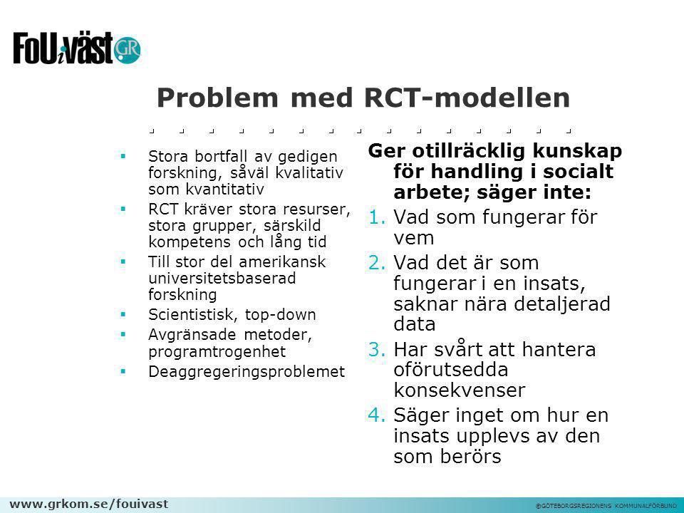 www.grkom.se/fouivast ©GÖTEBORGSREGIONENS KOMMUNALFÖRBUND Problem med RCT-modellen  Stora bortfall av gedigen forskning, såväl kvalitativ som kvantit