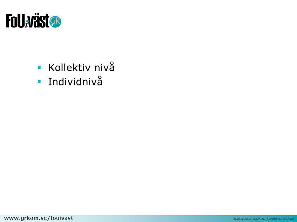 www.grkom.se/fouivast ©GÖTEBORGSREGIONENS KOMMUNALFÖRBUND  Kollektiv nivå  Individnivå