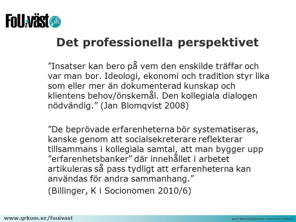 """www.grkom.se/fouivast ©GÖTEBORGSREGIONENS KOMMUNALFÖRBUND Det professionella perspektivet """"Insatser kan bero på vem den enskilde träffar och var man b"""