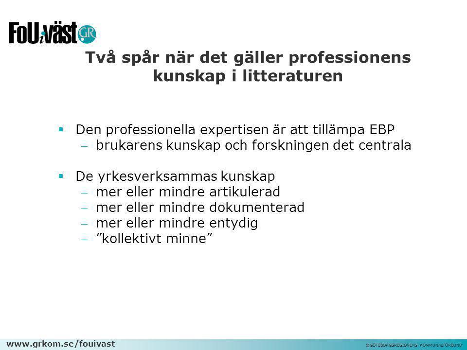 www.grkom.se/fouivast ©GÖTEBORGSREGIONENS KOMMUNALFÖRBUND Två spår när det gäller professionens kunskap i litteraturen  Den professionella expertisen