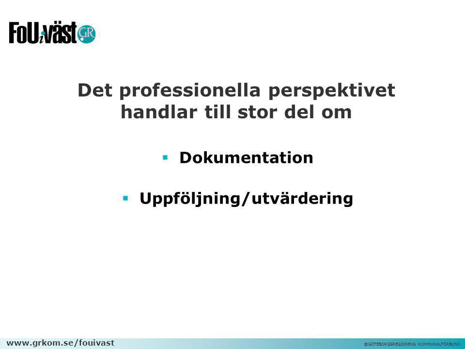 www.grkom.se/fouivast ©GÖTEBORGSREGIONENS KOMMUNALFÖRBUND Det professionella perspektivet handlar till stor del om  Dokumentation  Uppföljning/utvär