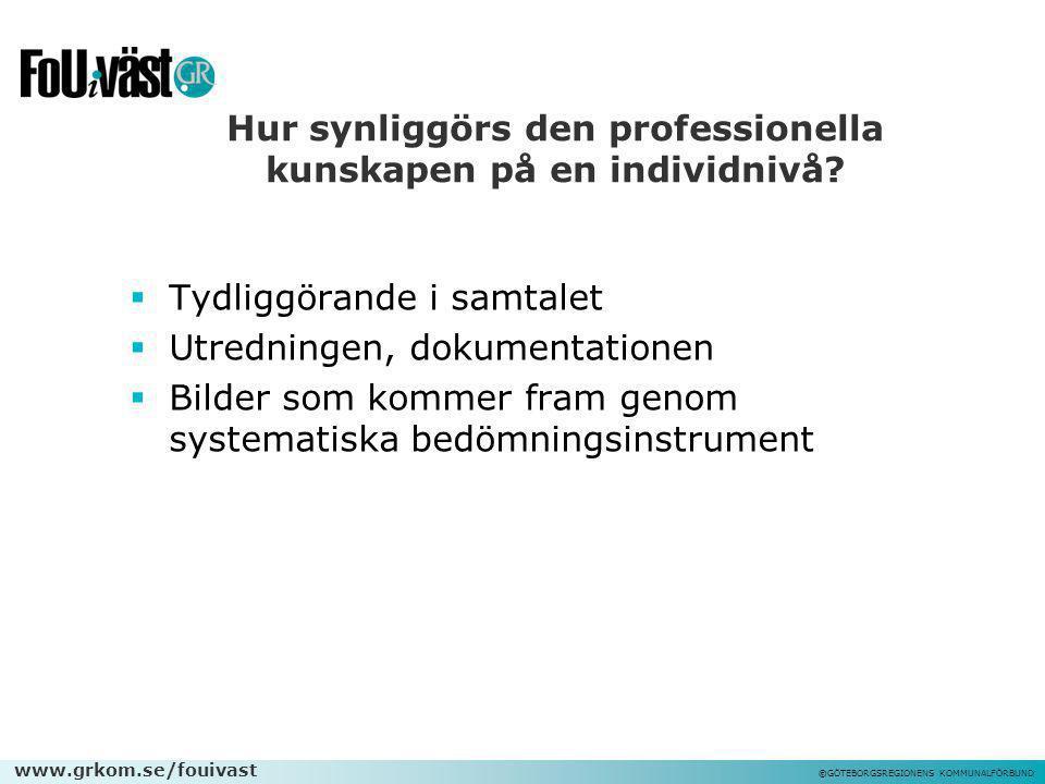 www.grkom.se/fouivast ©GÖTEBORGSREGIONENS KOMMUNALFÖRBUND Hur synliggörs den professionella kunskapen på en individnivå?  Tydliggörande i samtalet 