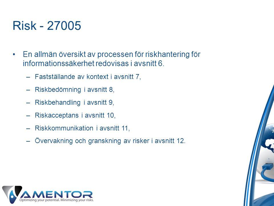 Risk - 27005 •En allmän översikt av processen för riskhantering för informationssäkerhet redovisas i avsnitt 6. –Fastställande av kontext i avsnitt 7,