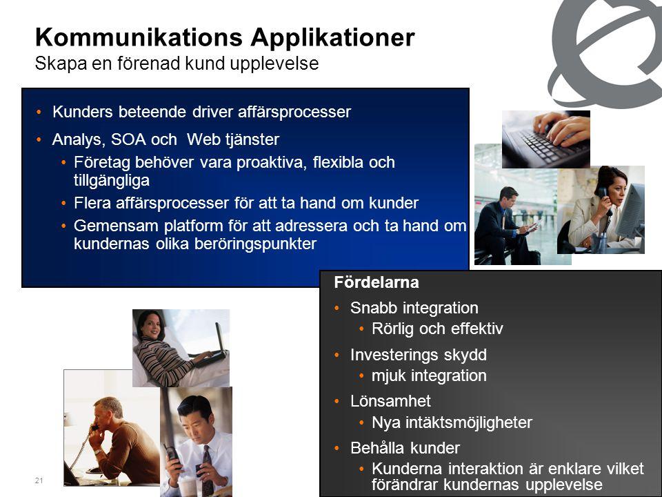 21 Kommunikations Applikationer Skapa en förenad kund upplevelse •Kunders beteende driver affärsprocesser •Analys, SOA och Web tjänster •Företag behöver vara proaktiva, flexibla och tillgängliga •Flera affärsprocesser för att ta hand om kunder •Gemensam platform för att adressera och ta hand om kundernas olika beröringspunkter Fördelarna •Snabb integration •Rörlig och effektiv •Investerings skydd •mjuk integration •Lönsamhet •Nya intäktsmöjligheter •Behålla kunder •Kunderna interaktion är enklare vilket förändrar kundernas upplevelse