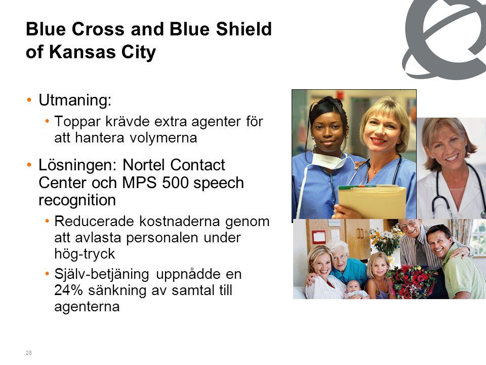 26 Blue Cross and Blue Shield of Kansas City •Utmaning: •Toppar krävde extra agenter för att hantera volymerna •Lösningen: Nortel Contact Center och MPS 500 speech recognition •Reducerade kostnaderna genom att avlasta personalen under hög-tryck •Själv-betjäning uppnådde en 24% sänkning av samtal till agenterna
