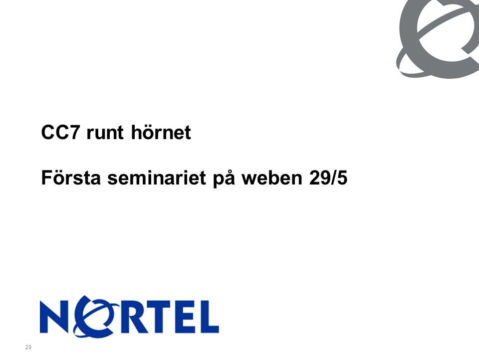 29 CC7 runt hörnet Första seminariet på weben 29/5