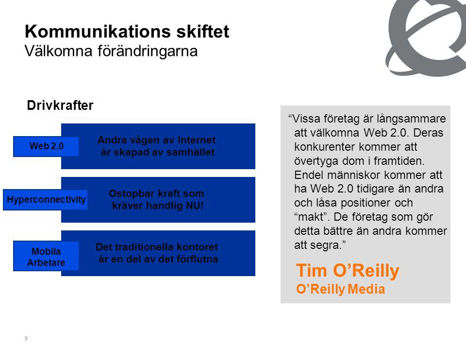 9 Kommunikations skiftet Välkomna förändringarna Drivkrafter Det traditionella kontoret är en del av det förflutna Ostopbar kraft som kräver handlig NU.