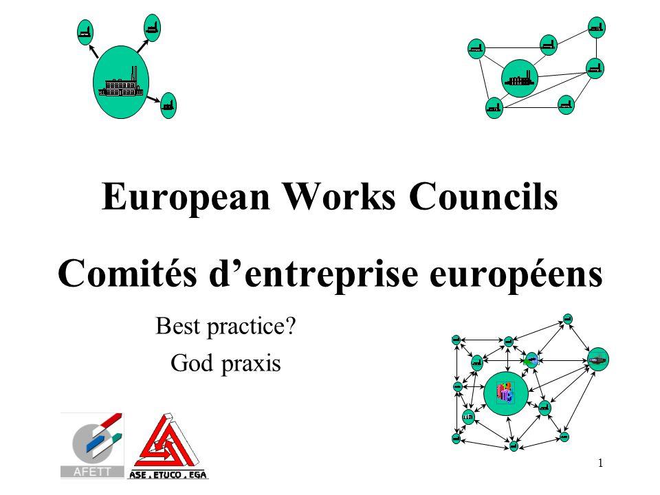 1 European Works Councils Comités d'entreprise européens Best practice? God praxis