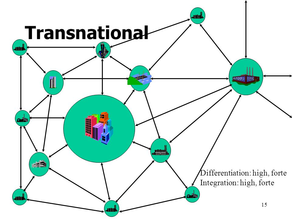 15 Differentiation: high, forte Integration: high, forte Transnational