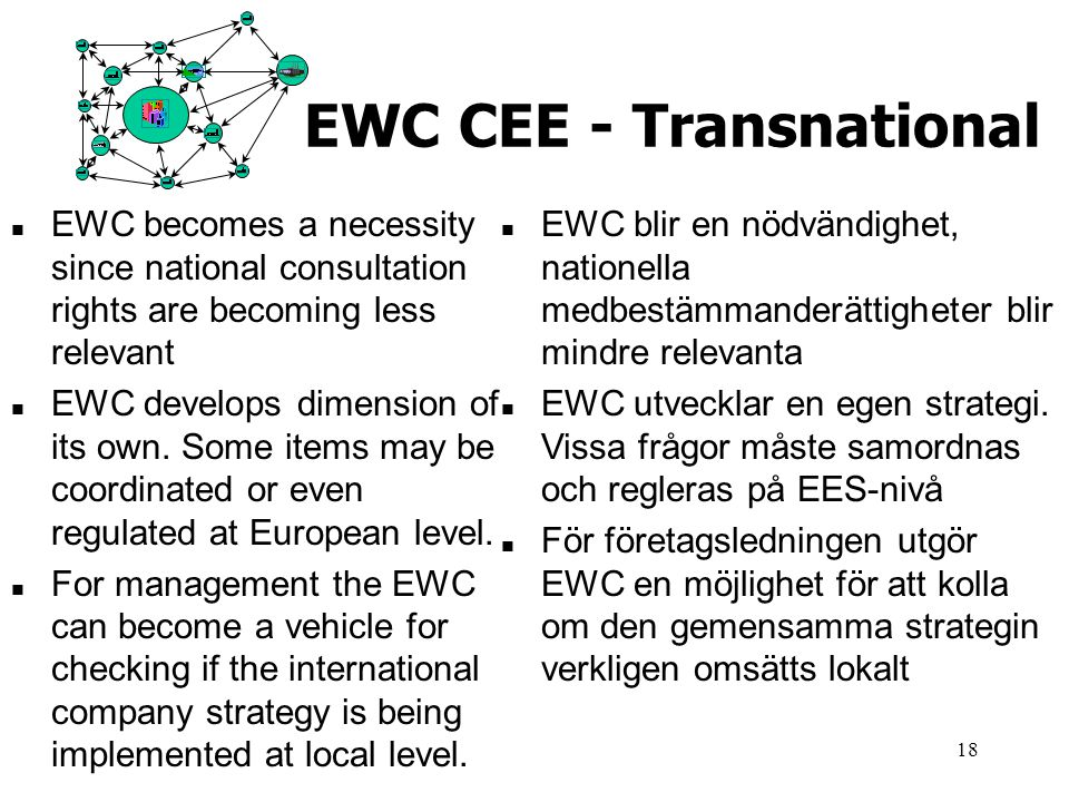18 EWC CEE - Transnational n EWC becomes a necessity since national consultation rights are becoming less relevant n EWC develops dimension of its own.