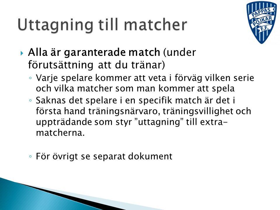  Alla är garanterade match (under förutsättning att du tränar) ◦ Varje spelare kommer att veta i förväg vilken serie och vilka matcher som man kommer