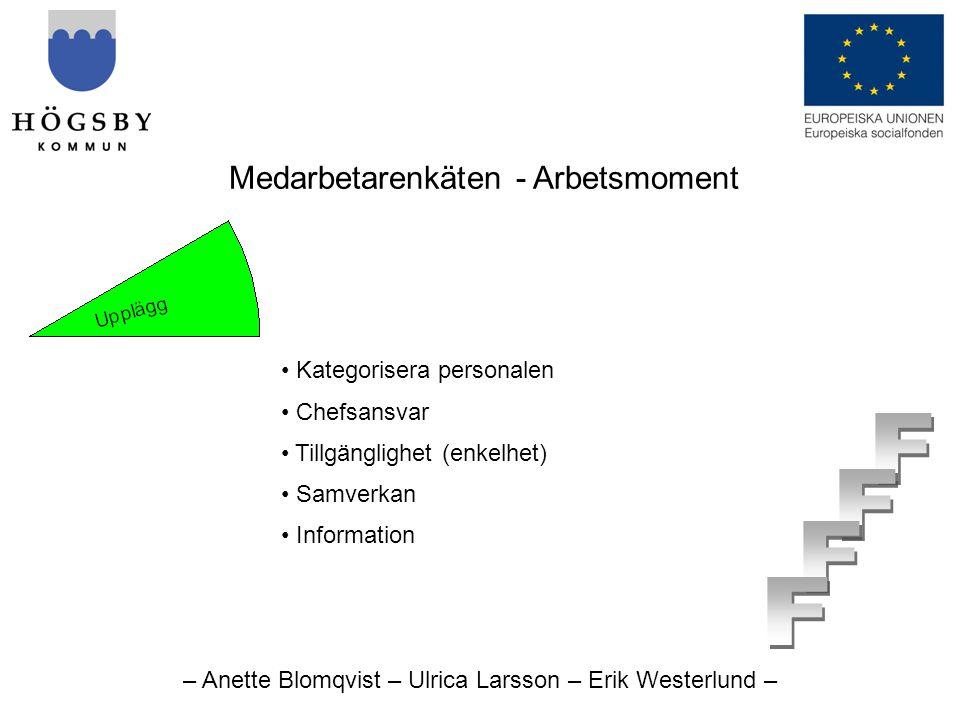 – Anette Blomqvist – Ulrica Larsson – Erik Westerlund – Medarbetarenkäten - Arbetsmoment • Kategorisera personalen • Chefsansvar • Tillgänglighet (enkelhet) • Samverkan • Information