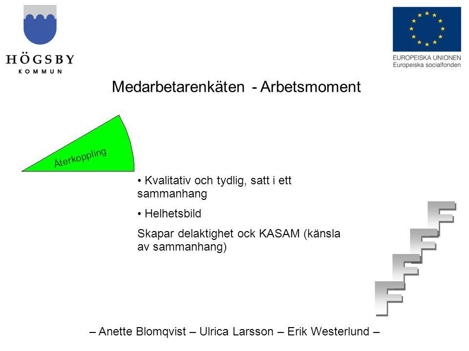 – Anette Blomqvist – Ulrica Larsson – Erik Westerlund – Medarbetarenkäten - Arbetsmoment • Kvalitativ och tydlig, satt i ett sammanhang • Helhetsbild Skapar delaktighet ock KASAM (känsla av sammanhang)