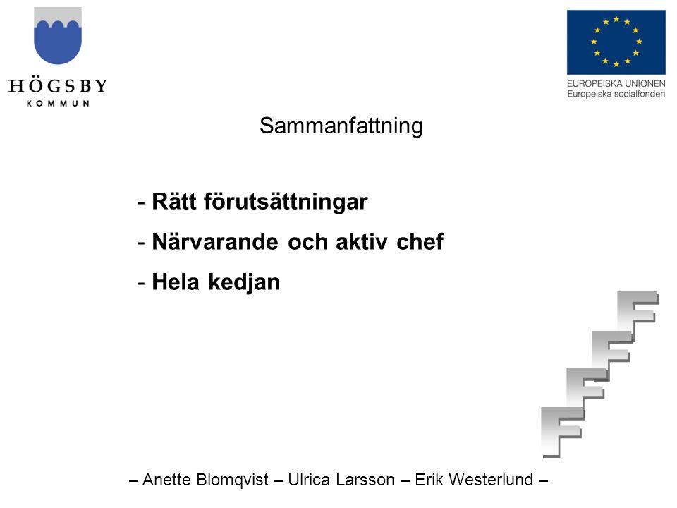 – Anette Blomqvist – Ulrica Larsson – Erik Westerlund – Sammanfattning - Rätt förutsättningar - Närvarande och aktiv chef - Hela kedjan