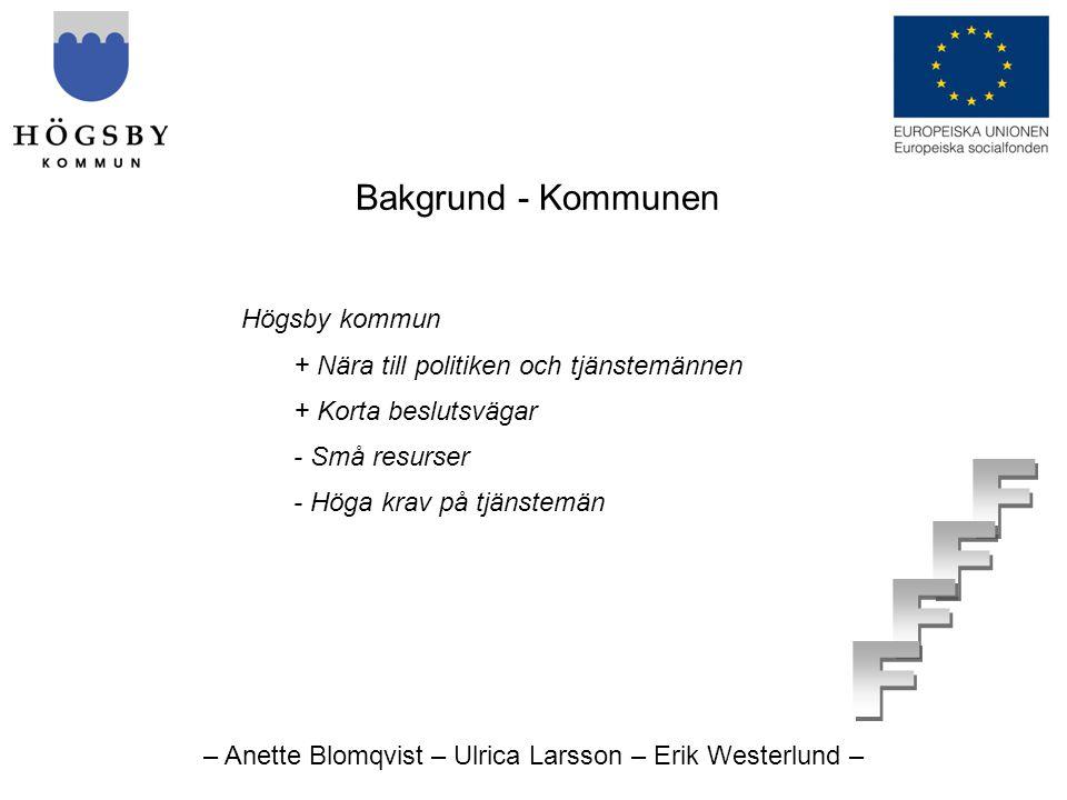 – Anette Blomqvist – Ulrica Larsson – Erik Westerlund – Bakgrund - Kommunen Högsby kommun + Nära till politiken och tjänstemännen + Korta beslutsvägar - Små resurser - Höga krav på tjänstemän