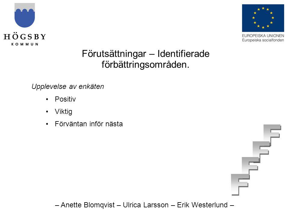 – Anette Blomqvist – Ulrica Larsson – Erik Westerlund – Förutsättningar – Identifierade förbättringsområden.