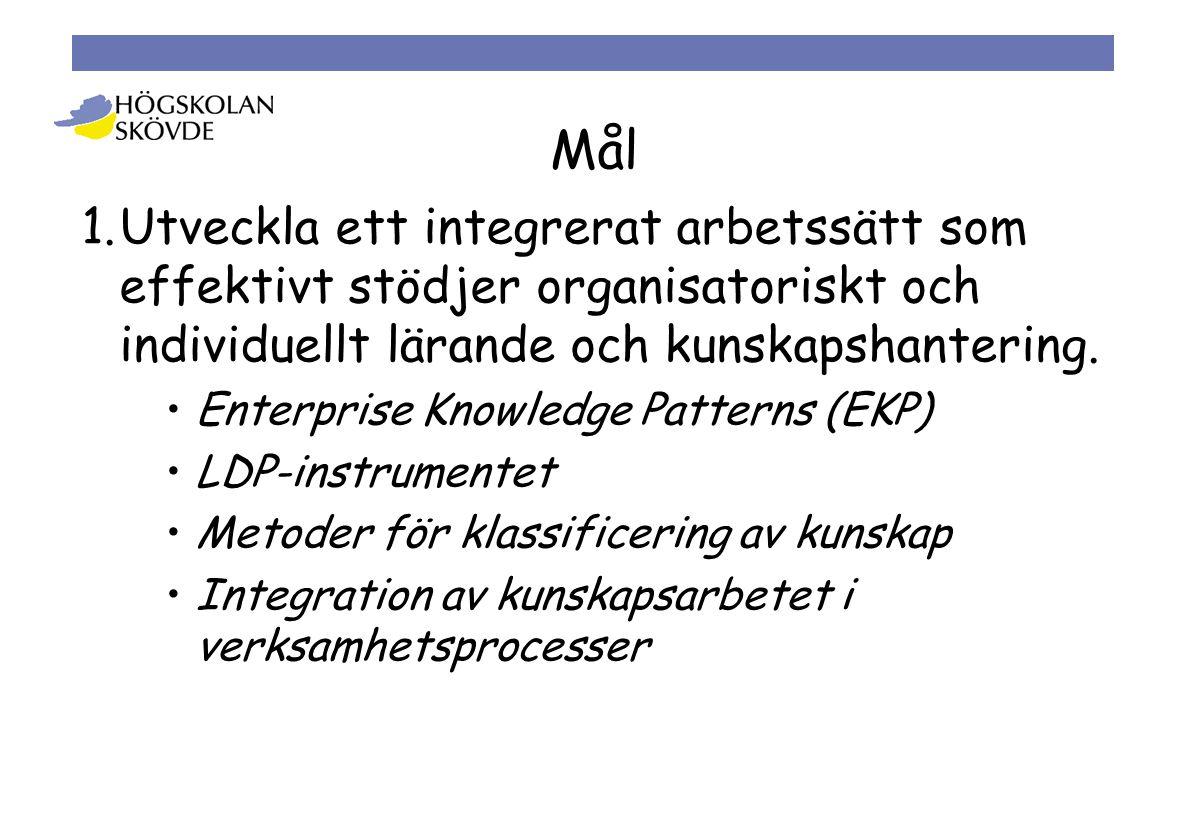 1.Utveckla ett integrerat arbetssätt som effektivt stödjer organisatoriskt och individuellt lärande och kunskapshantering.