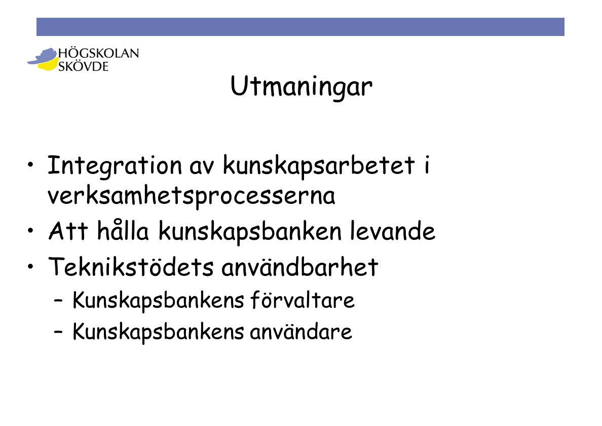 Utmaningar •Integration av kunskapsarbetet i verksamhetsprocesserna •Att hålla kunskapsbanken levande •Teknikstödets användbarhet –Kunskapsbankens förvaltare –Kunskapsbankens användare
