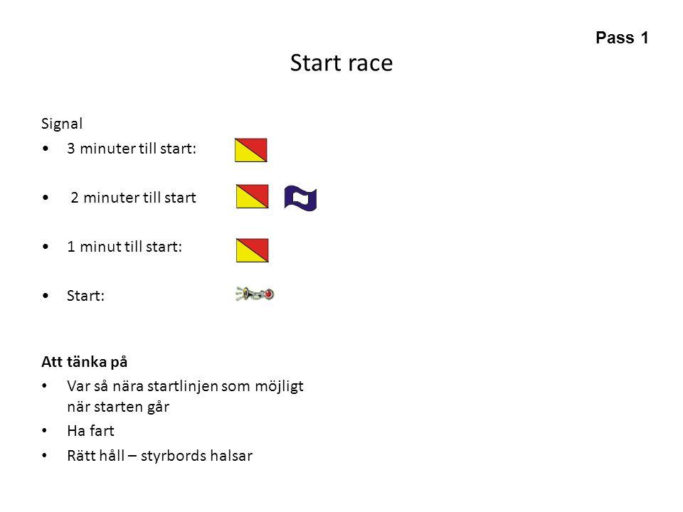 Start race Signal •3 minuter till start: • 2 minuter till start •1 minut till start: •Start: Att tänka på • Var så nära startlinjen som möjligt när st